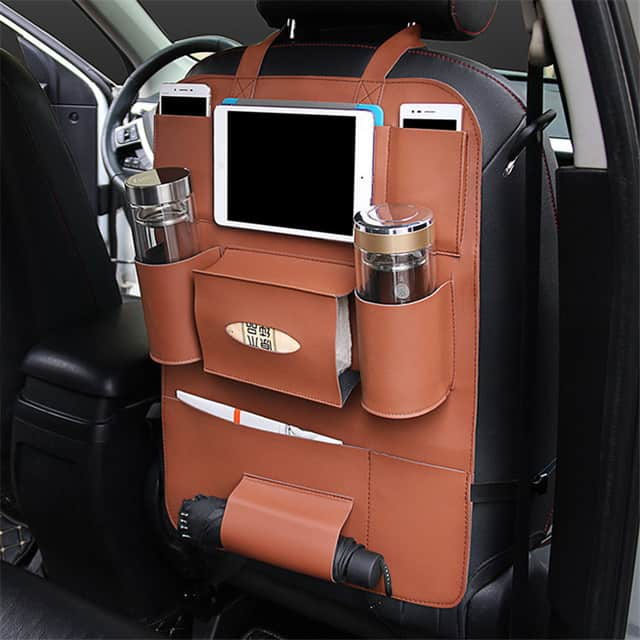 Bundle Pack 2x Leather Car Back Seat Organizers