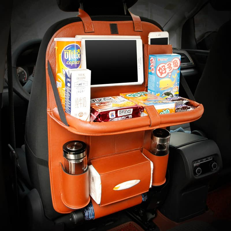High Quality PU Leather Car Seat Back Organizer With Table And IPad Tablet Holder