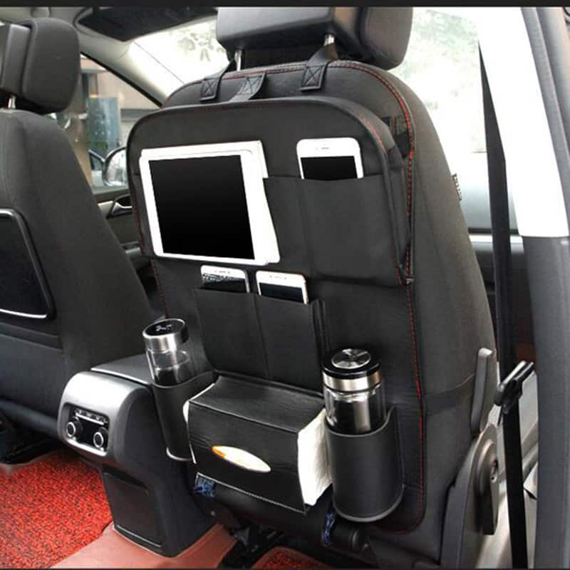 high quality pu leather car seat back organizer with table and ipad tablet holder flappi duck. Black Bedroom Furniture Sets. Home Design Ideas