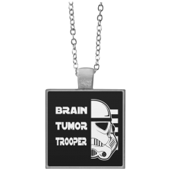 Brain Tumor Trooper Square Necklace