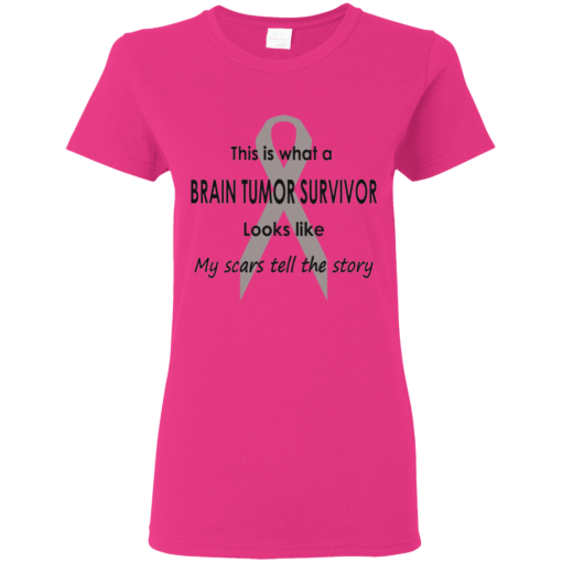 Brain Tumor Survivor Scars Tell The Story T-Shirt Ladies