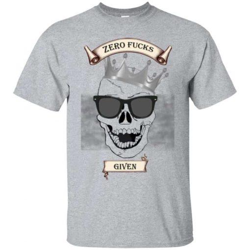 Unisex Zero F***S Given T-Shirt Laughing Skull