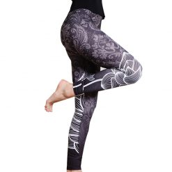 Black Floral Pattern Fashion Leggings